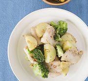 豚肉と新ジャガ、ブロッコリーのアンチョビガーリック炒め