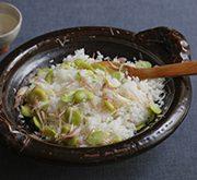 空豆とミョウガの炊き込みご飯