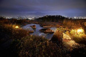 温泉から見える夜景