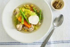 塩麹鶏とひよこ豆の春野菜ポトフ