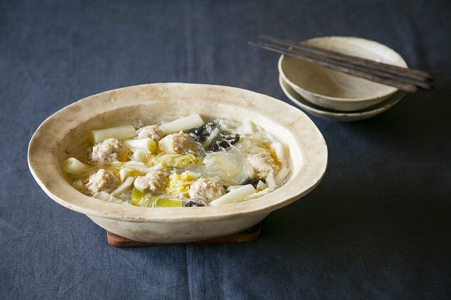 鶏団子と白菜漬け、春雨の煮込み