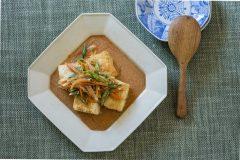 千切り野菜と揚げ豆腐のたらこあん